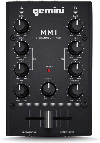 Gemini MM1 Pocket 2 Channel Analog Audio DJ Mixer