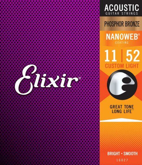 Elixir 16027 Acoustic Phosphor Bronze Strings, Custom Light 011-052 - 12 Pack