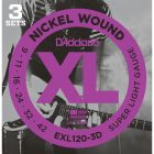 D'Addario EXL120-3D 3-PACK ELEC GTR XL SUP LITE Electric Guitar Strings