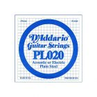 D'Addario PL020 SINGLE PLAIN STEEL 020 Acoustic Electric Guitar String