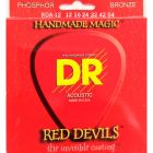DR Strings Red Devils - Red Coated Acoustic Guitar Strings,12, 16, 24, 32, 42, 54