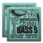ERNIE BALL Super Long Scale Slinky 5-String Bass Strings (2850) - 2 Pack