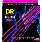 DR Strings Hi-Def NEON PINK, Coated Electric Strings (9-42)