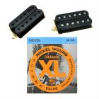 DiMarzio PAF Pro Neck DP151BK and Tone Zone Bridge DP155FBK (F-Spaced) Humbucker Set, Black, with Free D'Addario EXL110 Regular Light Strings