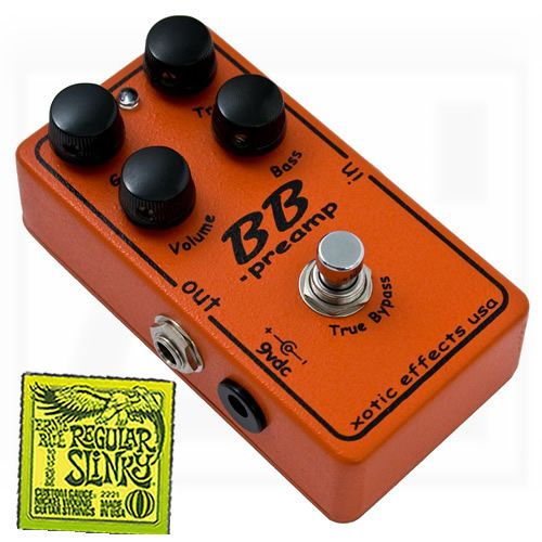 XOTIC BB Preamp Guitar Pedal Boost Active EQ FREE Ernie Ball Slinky Strings
