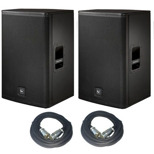 """EV Electro Voice ELX115P 15"""" Active/Powered PA Speakers PAIR w/ Two FREE 20' XLR Cables"""