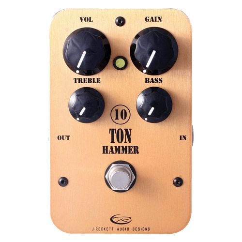 """ROCKETT 10 Ton Hammer Distortion Effect Pedal w/ 2x 6"""" Patch Cables"""