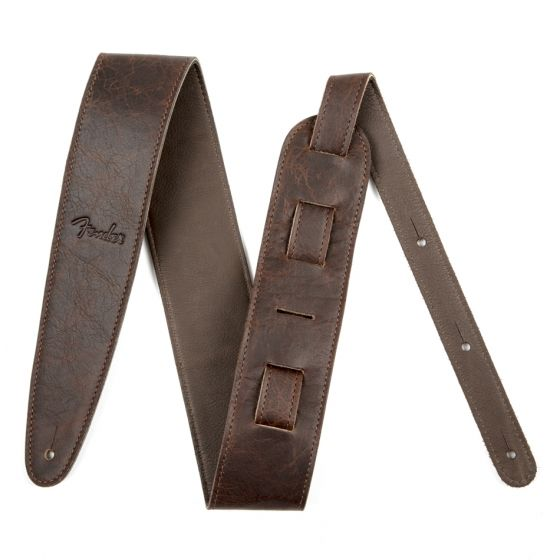 """Fender Strap, Artisan Crafted Leather, 2.5"""", Brown"""
