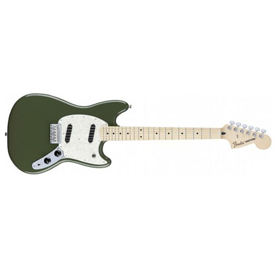 Fender Mustang Maple FB Olive Front View