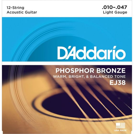 D'Addario EJ38 SET ACOUS PHOS BRZ LITE 12STR Acoustic Guitar Strings