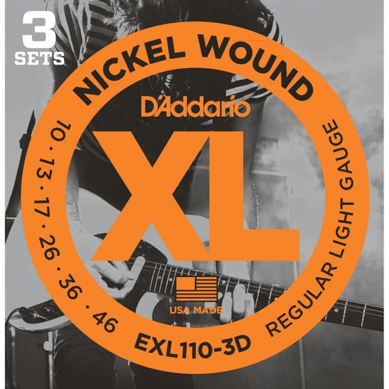 D'Addario EXL110-3D 3-PACK ELEC GTR XL REG LITE Electric Guitar Strings