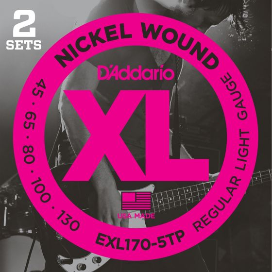 D'Addario EXL170-5TP 2-PACK BASS XL 45-130 5STR Electric Bass Strings