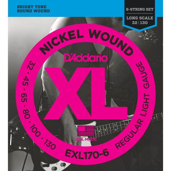 D'Addario EXL170-6 SET BASS XL 32-130 LONG 6STR Electric Bass strings