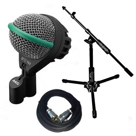 AKG D112 Dynamic Kick Drum Microphone with Goby Labs GBD-300 short boom stand and 20' XLR Cable