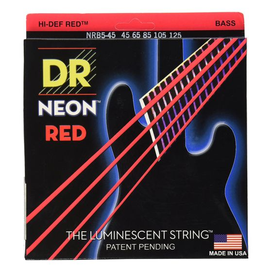 DR Strings Hi-Def Neon Red Coated Bass Strings, 45, 65, 85, 105, 125