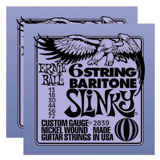 ERNIE BALL 6-string Baritone Slinky w/ small ball end 29 5/8 scale Strings (2839)- 2 Pack