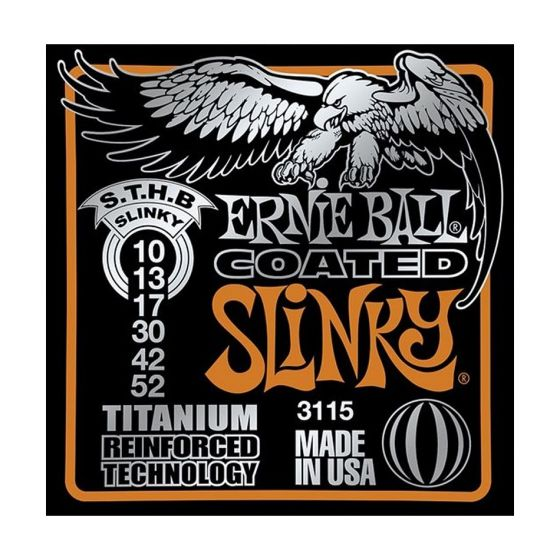 Ernie Ball Coated Electric Titanium RPS Skinny Top/Heavy Bottom Slinky Guitar Strings