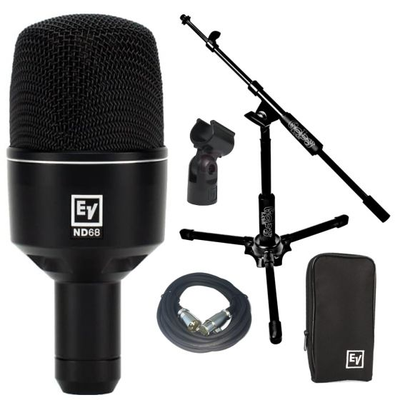 Electro Voice ND68 Kick Drum Mic w/20' XLR Cable & Goby Boom Stand NEW