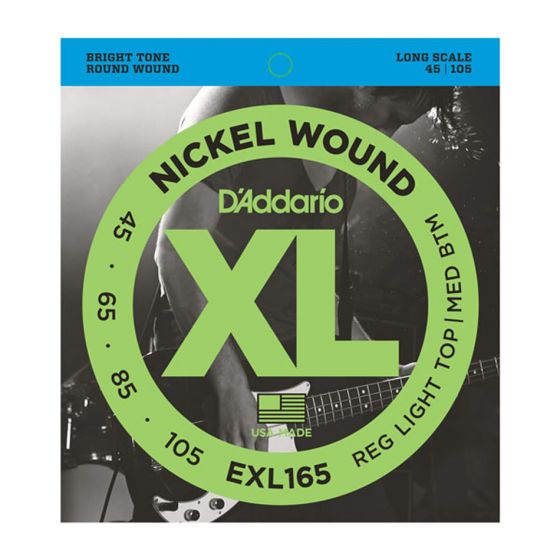 D'ADDARIO EXL165 Nickel Wound Custom Light, 45-105, Long Scale Bass Strings front