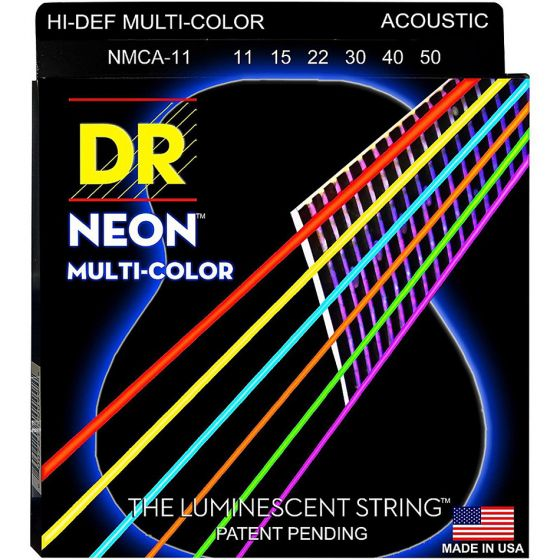 DR Strings Hi-Def NEON Multi-Color Coated Acoustic Strings Light 12, 16, 24, 32, 42, 54