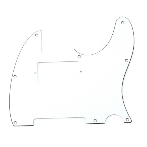 All Parts Pickguard for Humbucker Telecaster, 8 screw holes, 3-ply, White