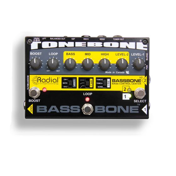 RADIAL Bassbone V2 Bass Preamp and DI Box front all