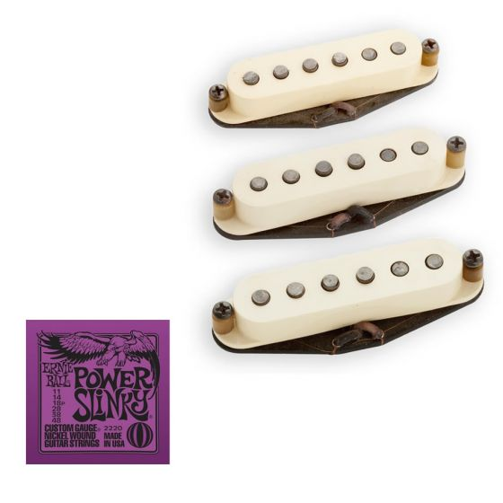 Seymour Duncan Antiquity II Surf for Strat Pickup Set with Ernie Ball EB2220 Power Slinky Strings