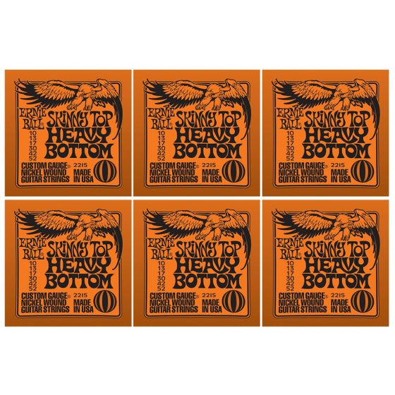 ERNIE BALL Skinny Top Heavy Bottom Nickel Wound Electric Guitar Strings (2215) - 6 Pack