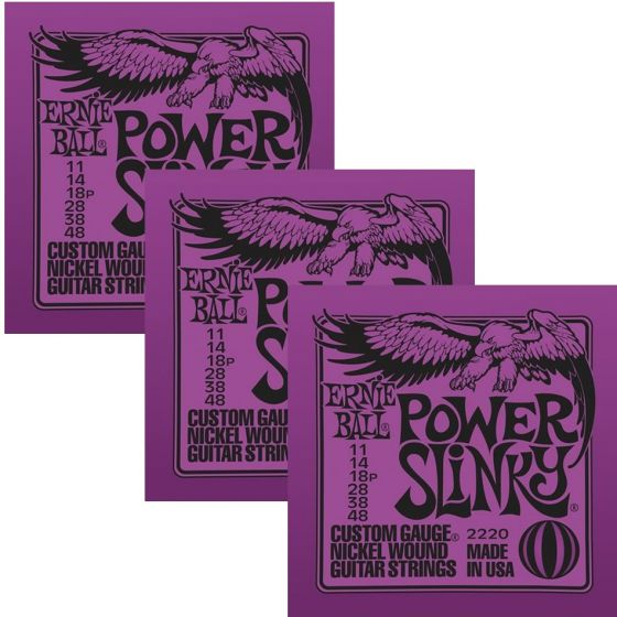 ERNIE BALL Power Slinky Nickel Wound Electric Guitar Strings (2220) - 3 Pack