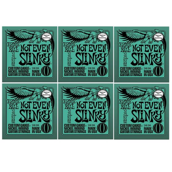 ERNIE BALL Not Even Slinky Nickel Wound Electric Guitar Strings (2626) - 6 Pack