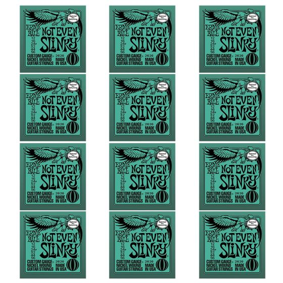 ERNIE BALL Not Even Slinky Nickel Wound Electric Guitar Strings (2626) - 12 Pack