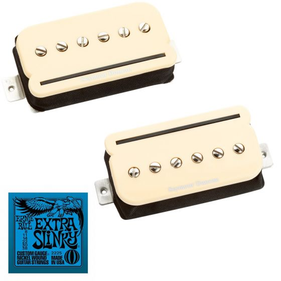 Seymour Duncan SHPR-1N and SHPR-1B P-Rails Set in Cream with Free Ernie Ball EB2225 Extra Slinky Strings