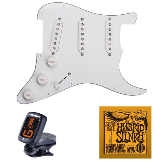 Seymour Duncan Classic Pre-loaded Strat Pickguard Set, White with Free Ernie Ball EB2222 Hybrid Slinky Strings and Tuner