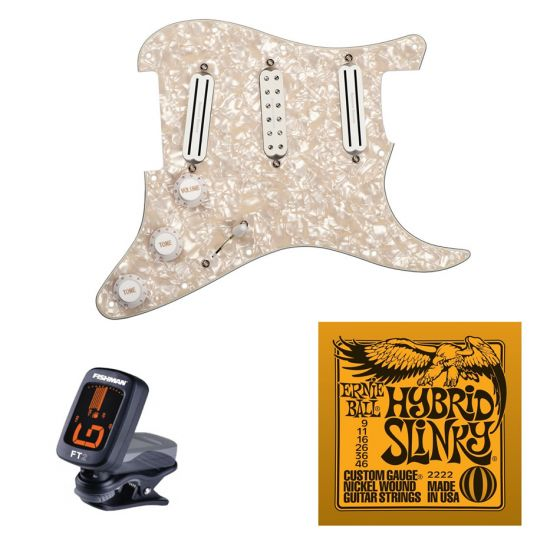 Seymour Duncan Dave Murray Pre-loaded Strat Pickguard Set, Pearloid with Free Ernie Ball EB2222 Hybrid Slinky Strings and Tuner