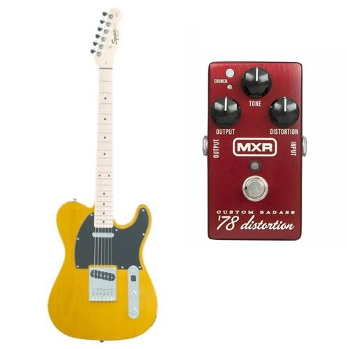 Fender Squier Affinity Telecaster Maple Special Blonde with MXR M78 Distortion